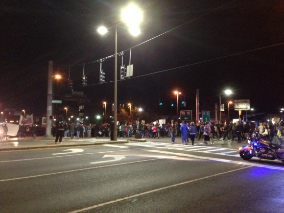 Boston demonstration in reaction to Grand Jury decision in Ferguson; November 25